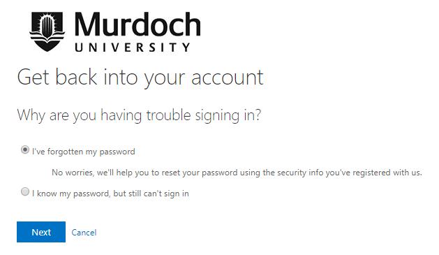 Forgotten Murdoch Password